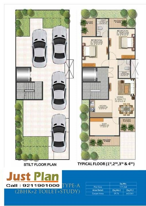 Signature global park 3 Bhk Floor Plan